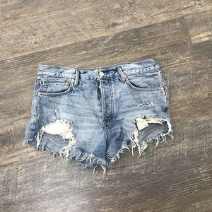 Free People Shorts Distressed Button Fly Shorts